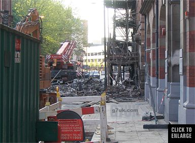 Damage to the building behind, Lever Street fire, Manchester