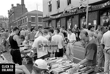 Jumble sale on Canal Street, Manchester, August Bank Holiday Monday, 1990. This is the event that became Manchester Mardi Gras, GayFest and Manchester Pride in subsequent years