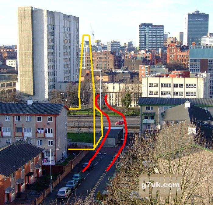 In the modern-day photo above the approximate positions of Sackville Street