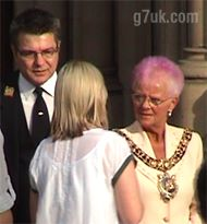 Lord Mayor Mavis Smitheman talks with the Festival Director of Manchester Pride