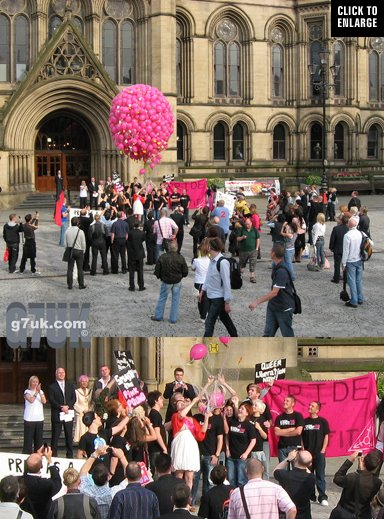 The balloon launch on the opening night of Manchester Pride 2008 was invaded by queer activists