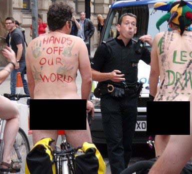 police stop World Naked Bike Riders