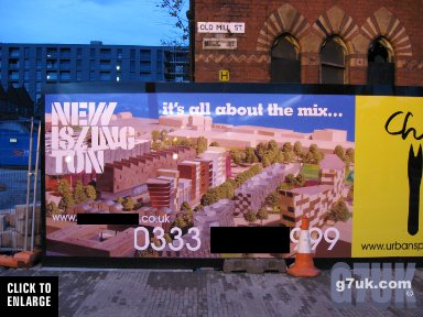 Poster with Ancoats Hospital behind