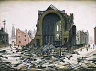 Painting of St.Augustine's church, York Street, after it was bombed in the Manchester Blitz of Christmas 1940