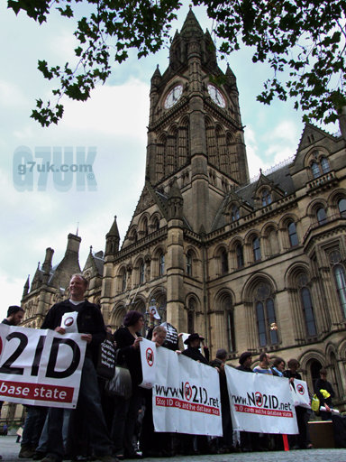 NO2ID campaigners burnt a giant ID card in front of Manchester town hall