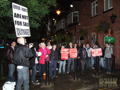 Protest at the LGBTory event in Manchester's gay village during the 2009 Conservative Party Conference.