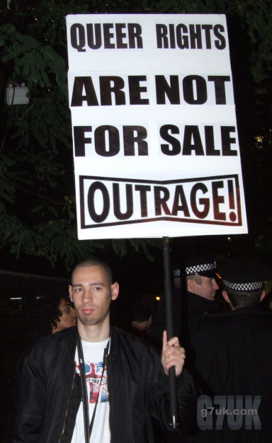 Protester at the LGBTory event in Manchester's gay village during the 2009 Conservative Party Conference.