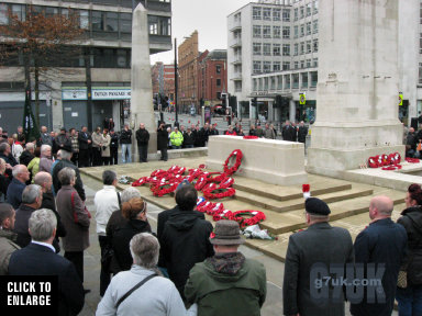 Remembrance day ceremony, St. Peter's Square, Manchester, 11 November 2009