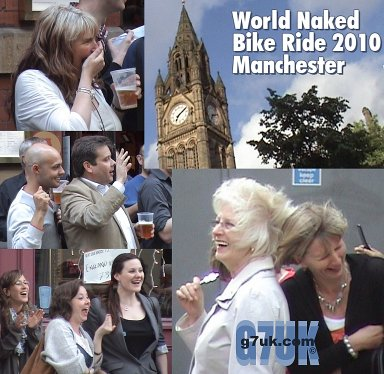 Spectators react as the Manchester Naked Bike Ride passes, June 2010