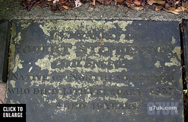 The gravestone for Robert Stephenson in Eccles