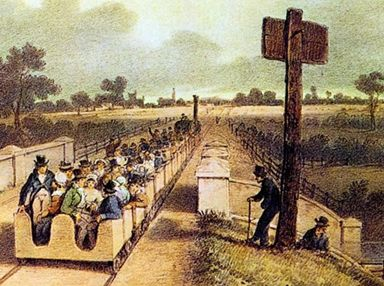 The opening of the Liverpool and Manchester Railway. From a painting by A.B.Clayton, 1830