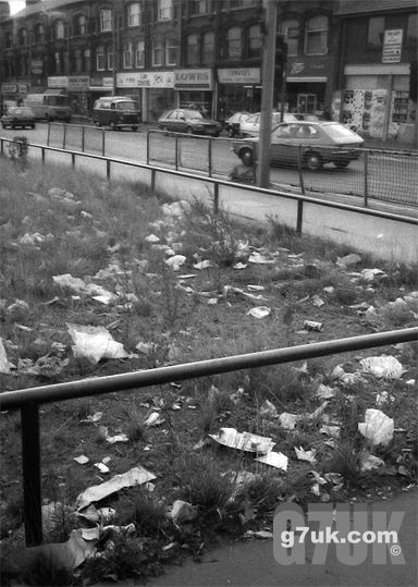 Litter in Longsight, October 1986. The corner of Stockport Road and Stanley Grove.