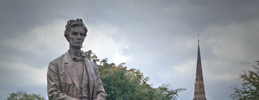 Statue of Abraham Lincoln at Platt Fields Park, early 1980s
