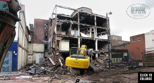 Demolition of the former Dobbins shop, Oldham Street, Manchester