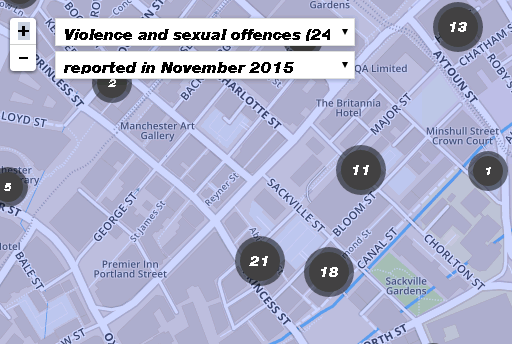 Reported violent and sexual crimes in Manchester's gay village in November 2015
