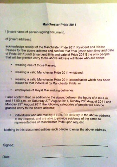 Letter to residents from Manchester Pride in 2011