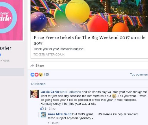 Day tickets discussed on Manchester Pride's Facebook page