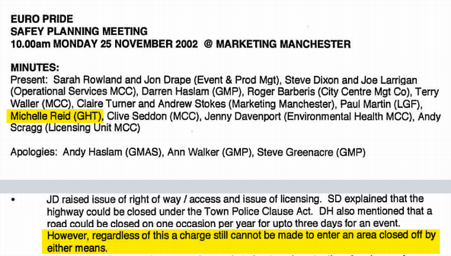 Minutes of a meeting at Marketing Manchester in November 2002