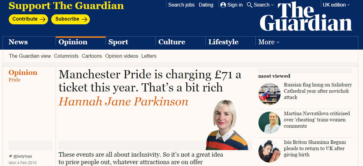 Manchester Pride tickets discussed in The Guardian