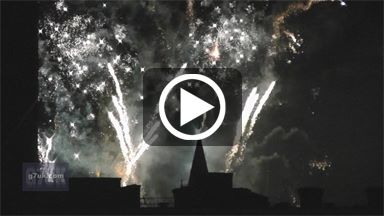 Fireworks around Manchester town hall as the city welcomes in 2013 on New Year's Eve