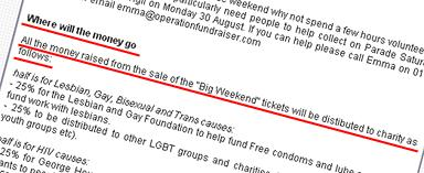 In this grab from Operation Fundraiser's site in 2004 you can see they say that 'all' money 'raised' from the sale of tickets will be distributed to charity