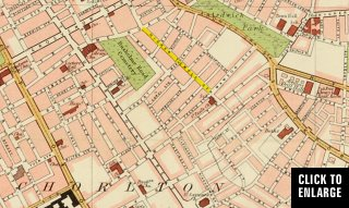 Bartholomew map from 1900 showing Higher Temple Street in yellow.