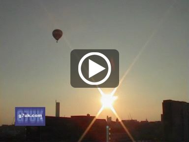 Hot-air balloons over manchester city centre