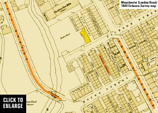 Sackville Street (Zara Street) and Temple Street area of Chorlton on Medlock. 1849 Ordnance Survey map