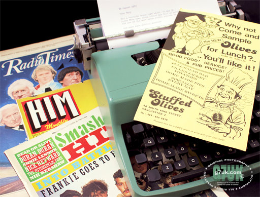 Flyer for Stuffed Olives mid-1980's with typewriter and magazines of the time