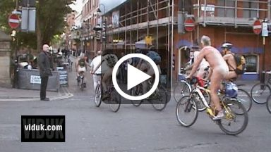 Watch the video of the Manchester World Naked Bike Ride 2008